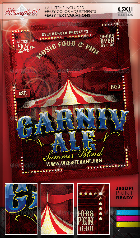 Vintage carnivale brewery flyer template by getstronghold for Brewery design software