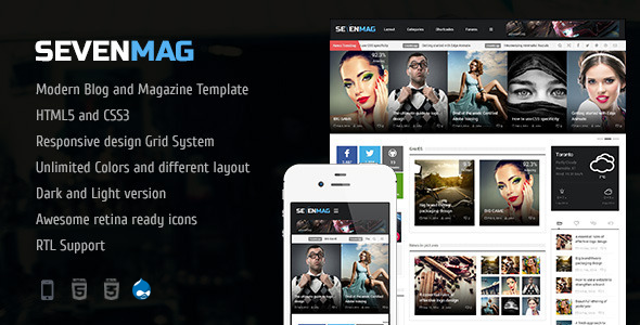 Image of SevenMag - Blog/Magzine/Games/News Drupal Theme