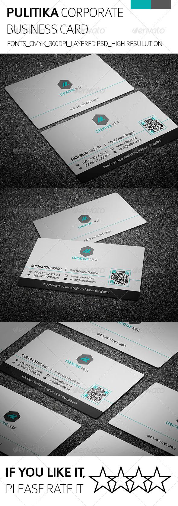 Pulitica & Corporate Business Card - Corporate Business Cards
