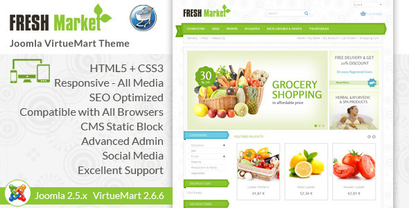 Fresh Market - Responsive VirtueMart Template - VirtueMart Joomla