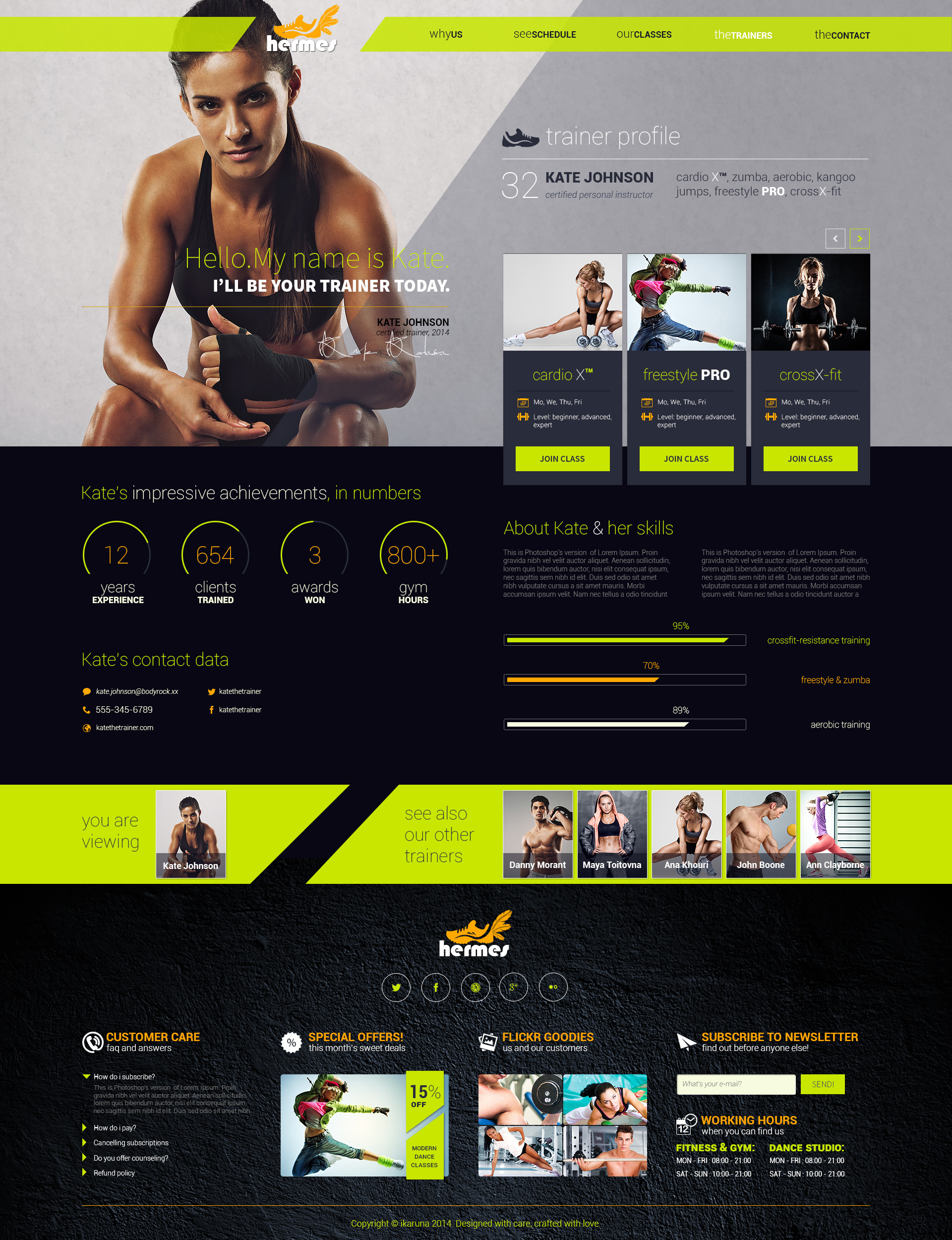 Hermes fitness one page psd template by ikaruna for Free gym layout design