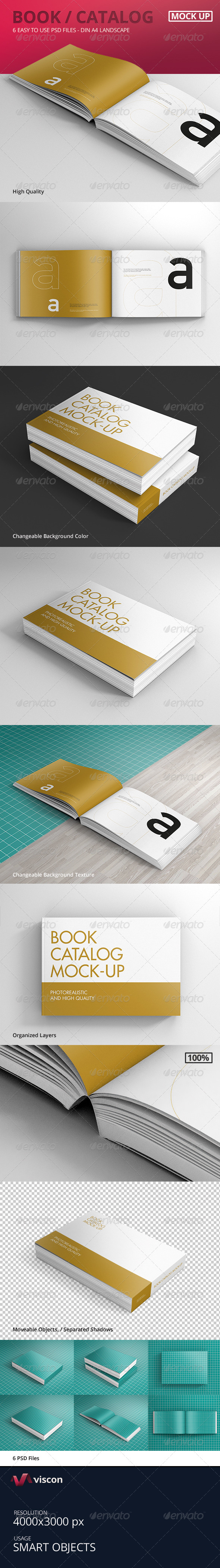 Book / Catalog Mock-Ups Landscape - Books Print