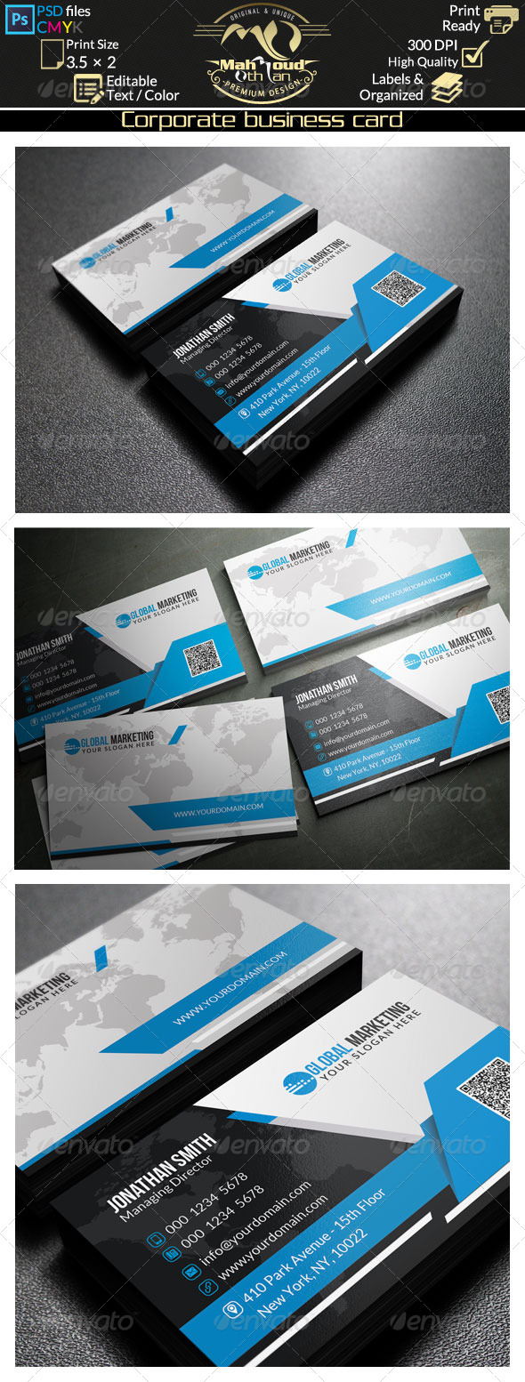 Black and blue business card 37 by farstar60 graphicriver black and blue business card 37 corporate business cards colourmoves
