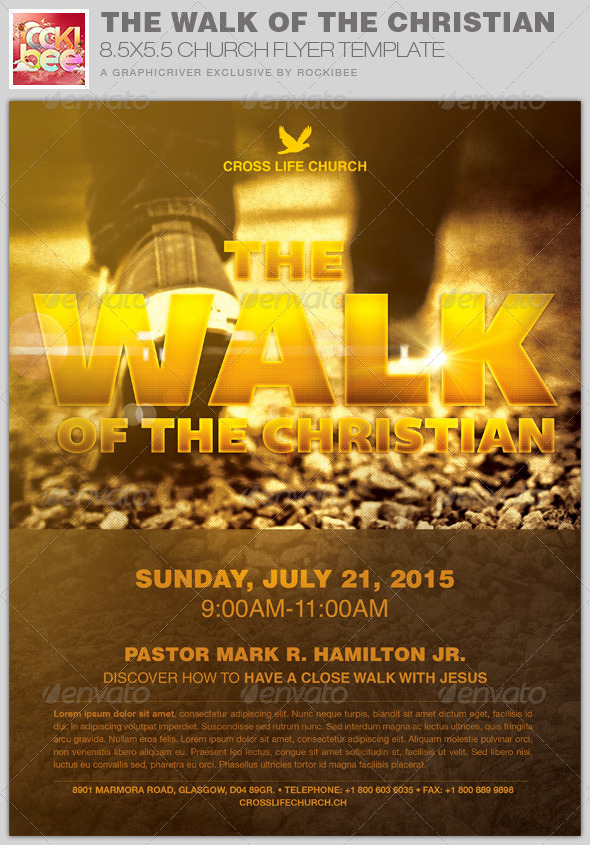 The Walk Of The Christian Church Flyer Template By Rockibee