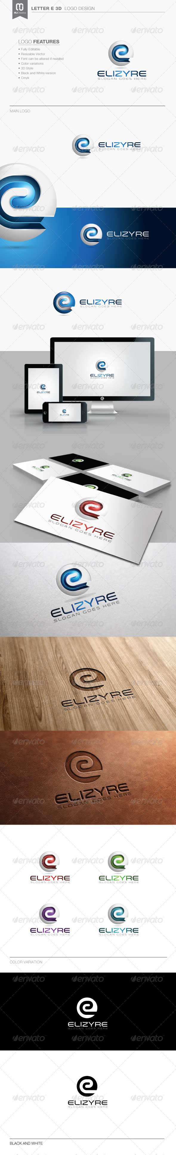 Letter E 3D Logo - 3d Abstract