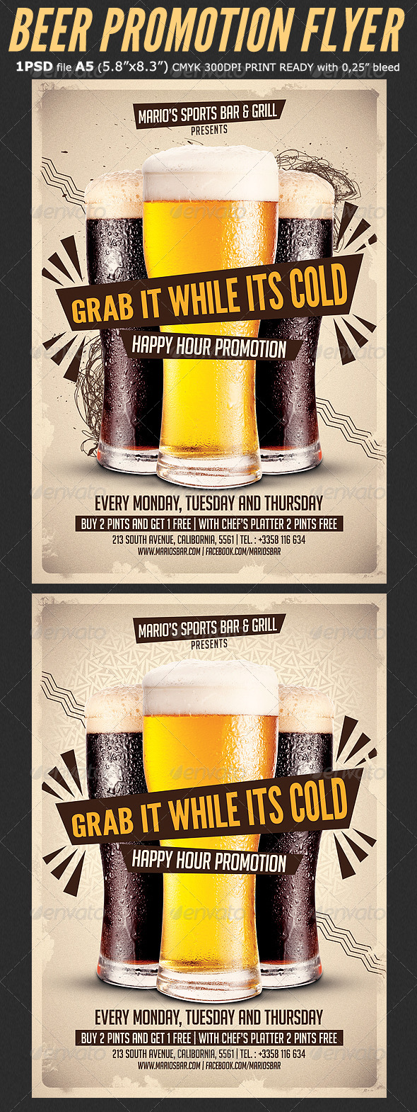 Beer Promotion Happy Hour Flyer Template By Hotpin Graphicriver