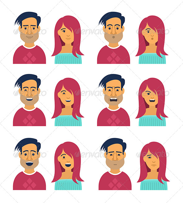Facial Expressions of Woman and Man - People Characters