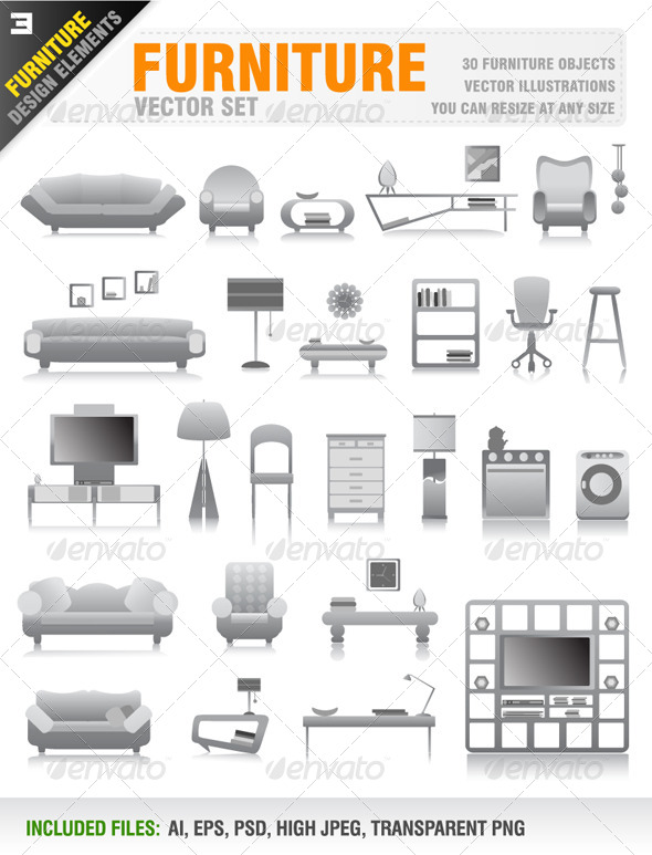 30 Furniture Icons - Objects Vectors