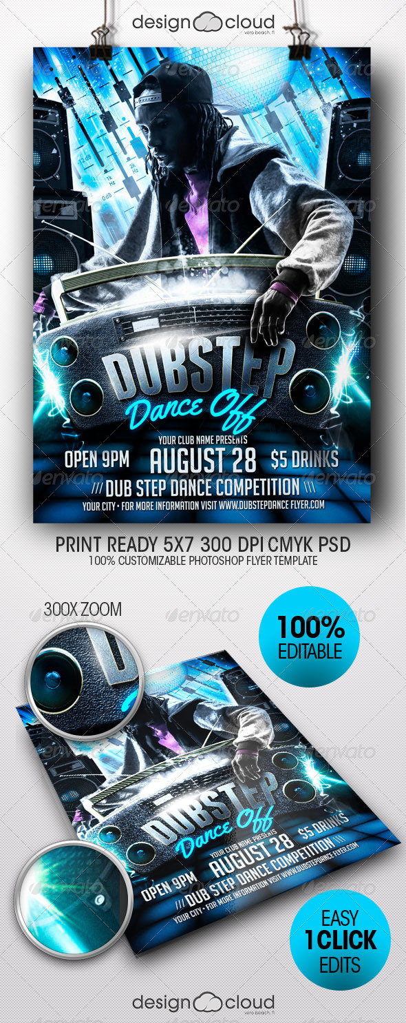Dub Step Dance Off Flyer Template - Clubs & Parties Events