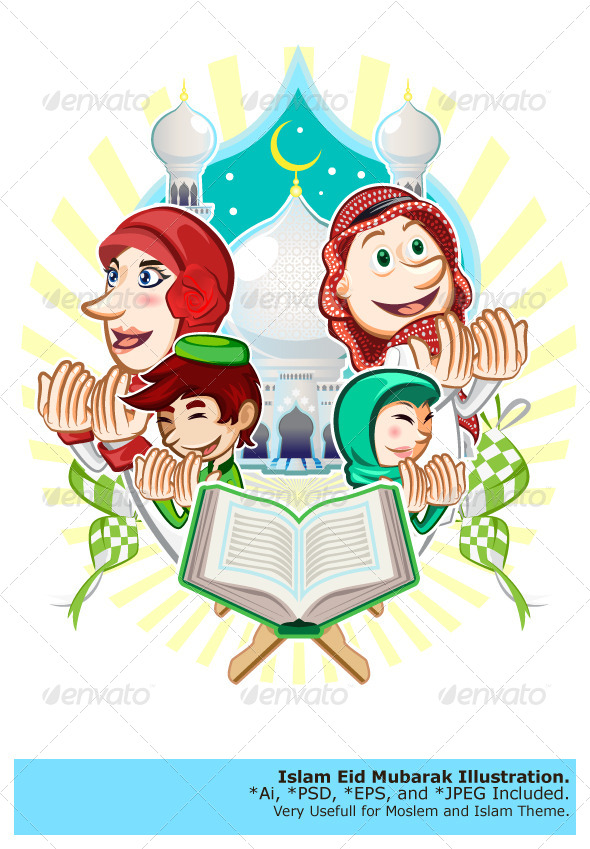Islam eid mubarak greeting card illustration by brancaescova islam eid mubarak greeting card illustration religion conceptual m4hsunfo