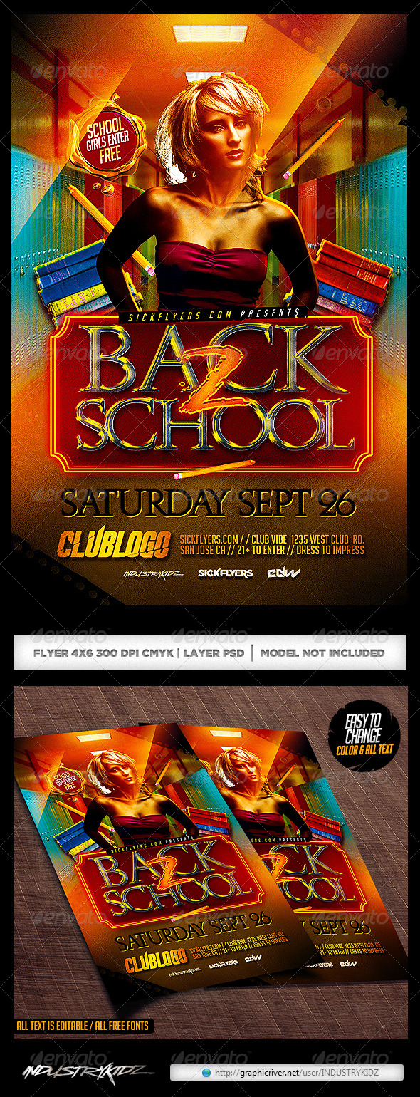 Back To School Flyer Template PSD - Clubs & Parties Events