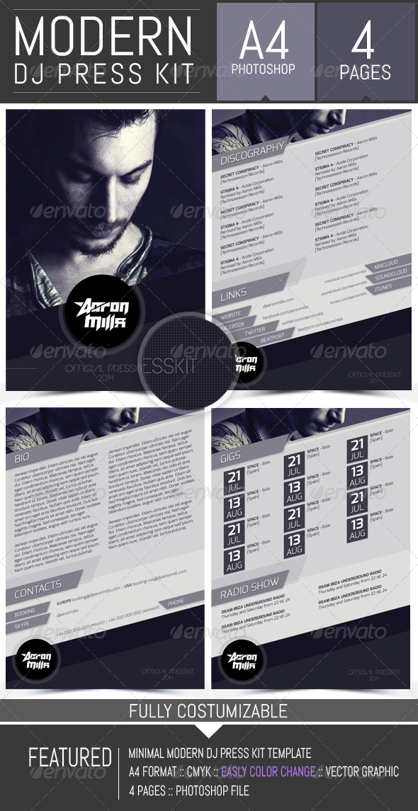 dj and musician press kit resume template resumes stationery
