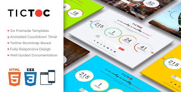 TICTOC - Coming Soon Countdown Template - Under Construction Specialty Pages