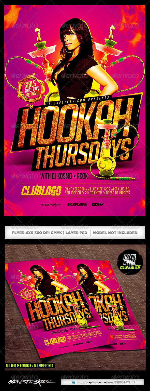 Hookah Lounge Flyer Template PSD   Clubs U0026 Parties Events