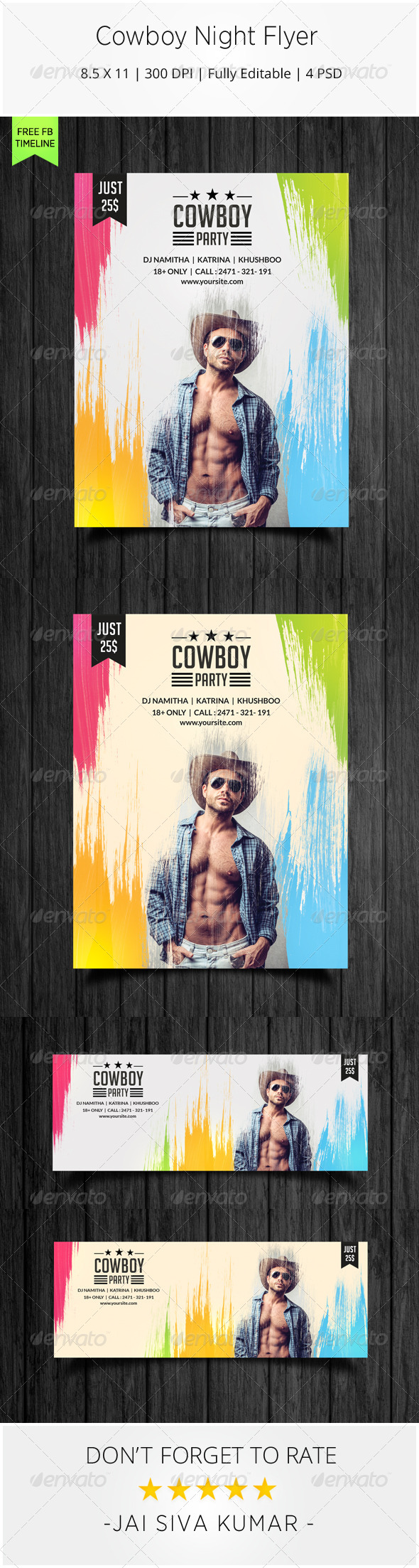 Cowboy Night Flyer - Clubs & Parties Events