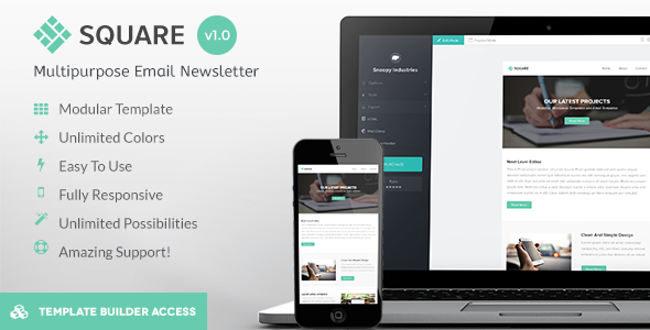 Square – Modern Email + Builder / Editor Access