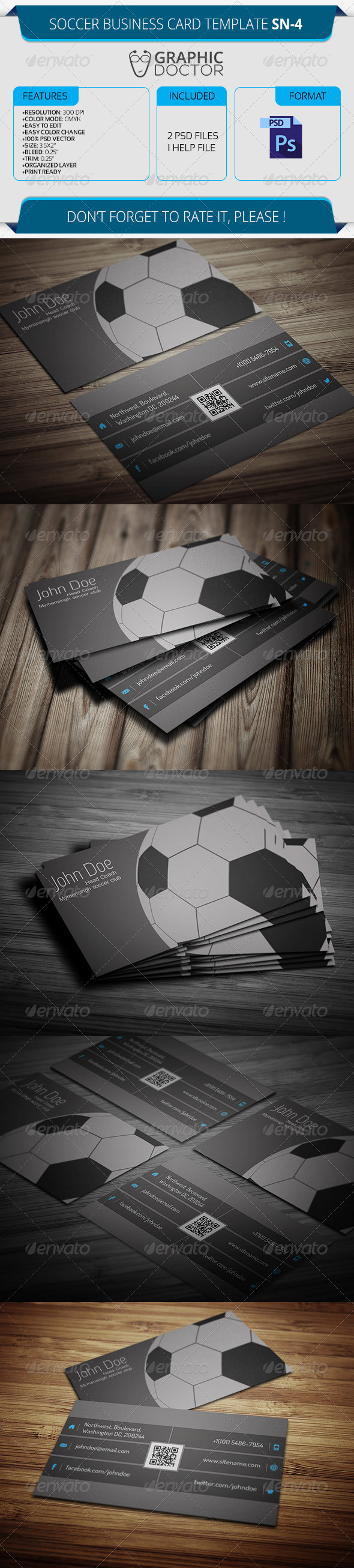 Soccer Business Card Template SN-4 by GraphicDoctor   GraphicRiver