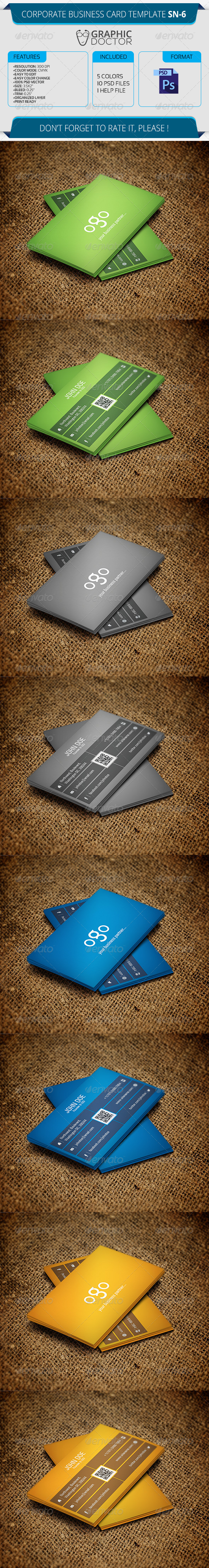 Corporate Business Card Template SN-6 - Corporate Business Cards