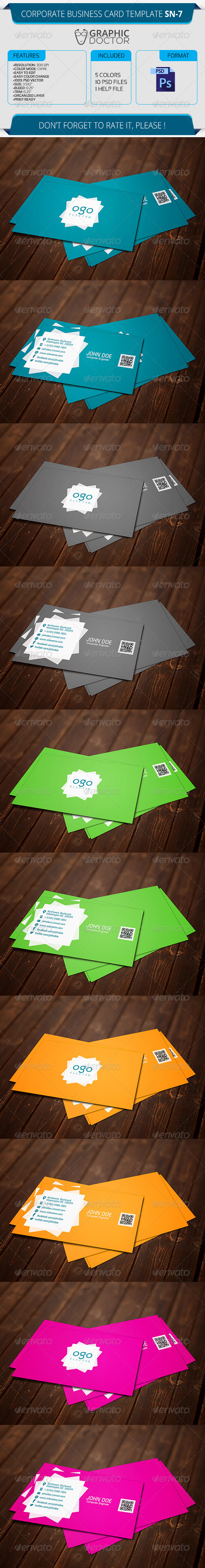 Corporate Business Card Template SN-7 - Corporate Business Cards
