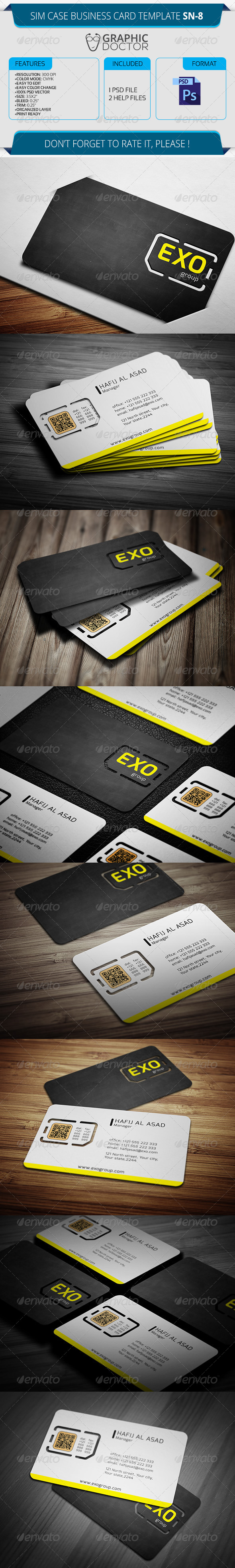 Sim Case Business Card Template SN-8 - Real Objects Business Cards