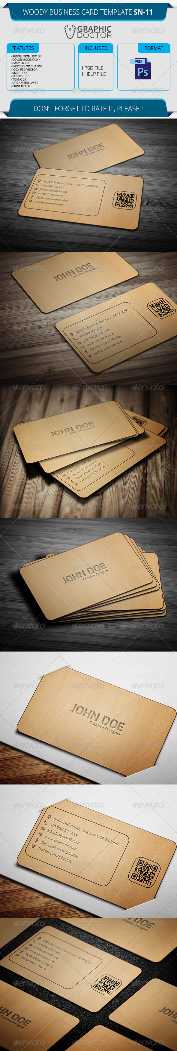 Woody Business Card Template SN-11 - Real Objects Business Cards