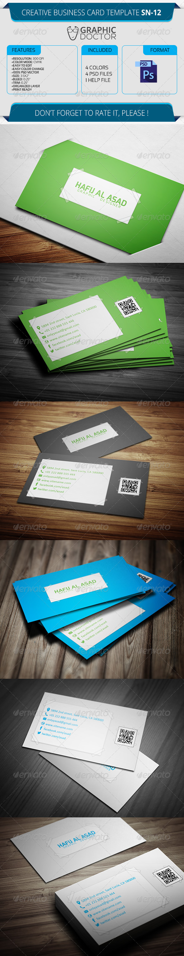 Creative Business Card Template SN-12 - Creative Business Cards