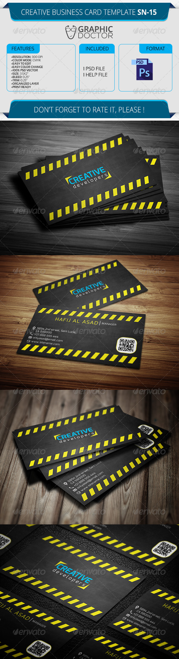 Creative Business Card Template SN-15 - Creative Business Cards