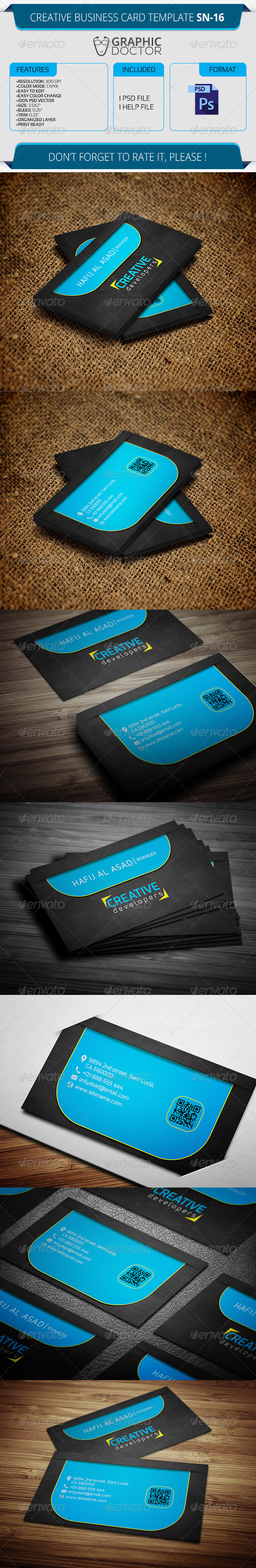 Creative Business Card Template SN-16 - Creative Business Cards