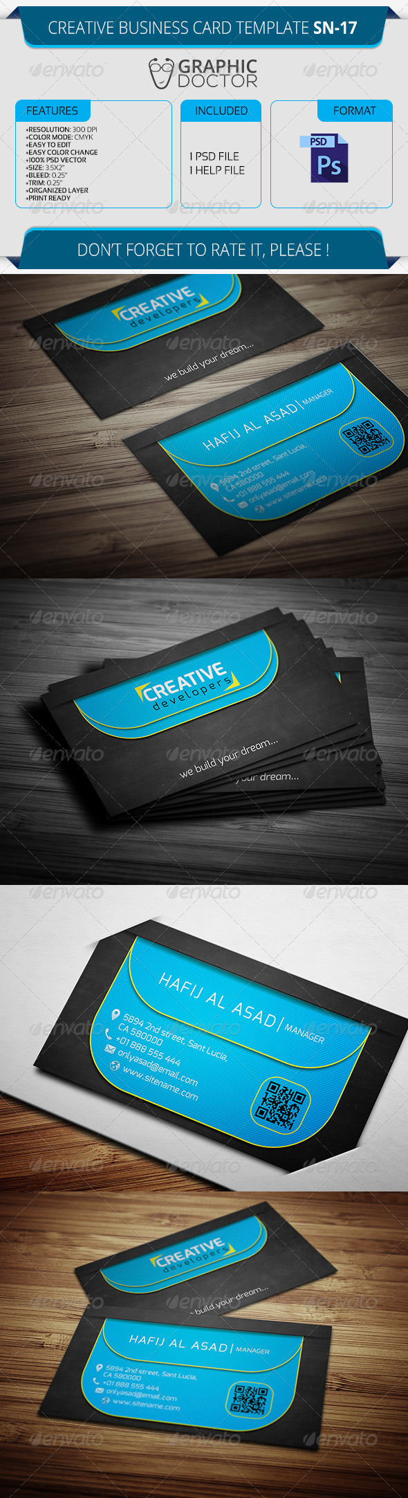 Creative Business Card Template SN-17 - Creative Business Cards