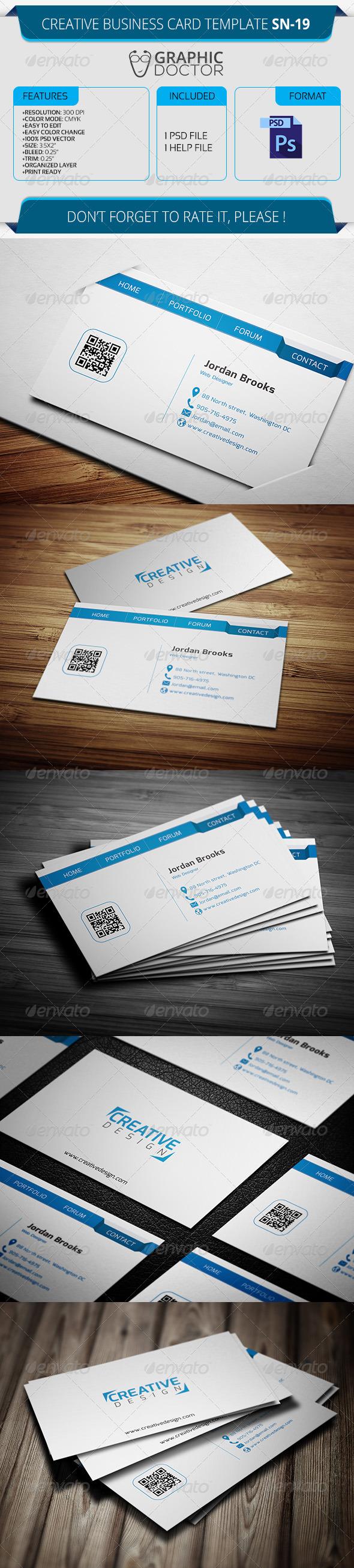 Creative Business Card Template SN-19 - Creative Business Cards