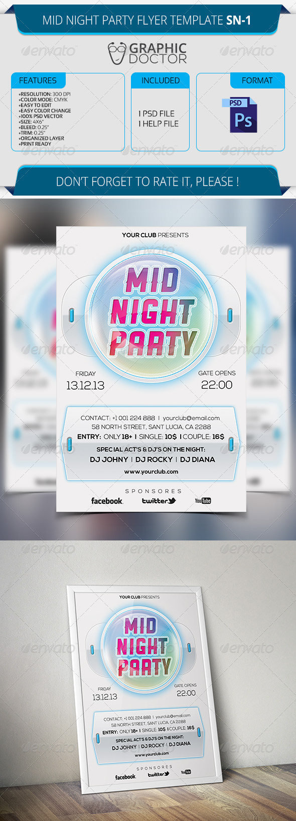 Mid Night Party Flyer Template SN-1 - Clubs & Parties Events