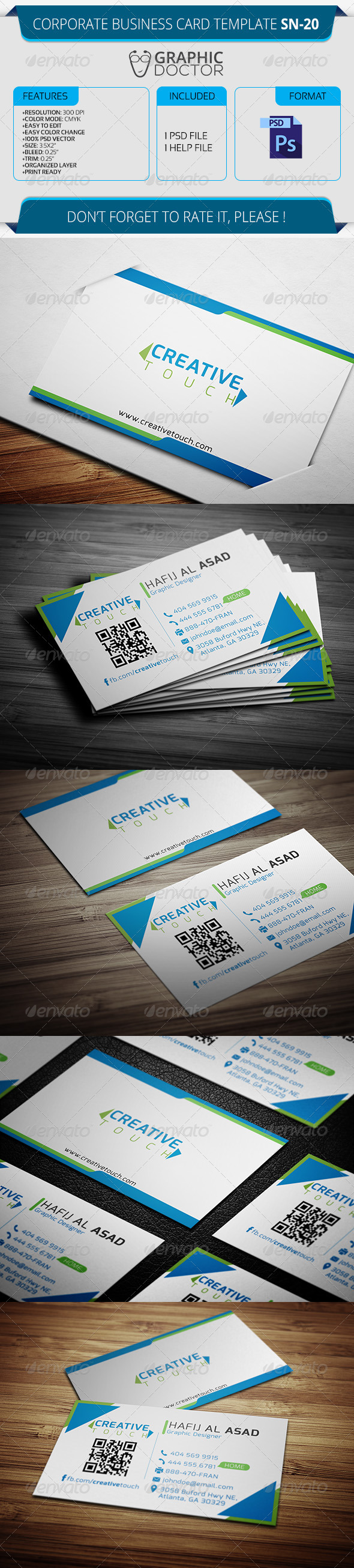 Corporate Business Card Template SN-20 - Corporate Business Cards