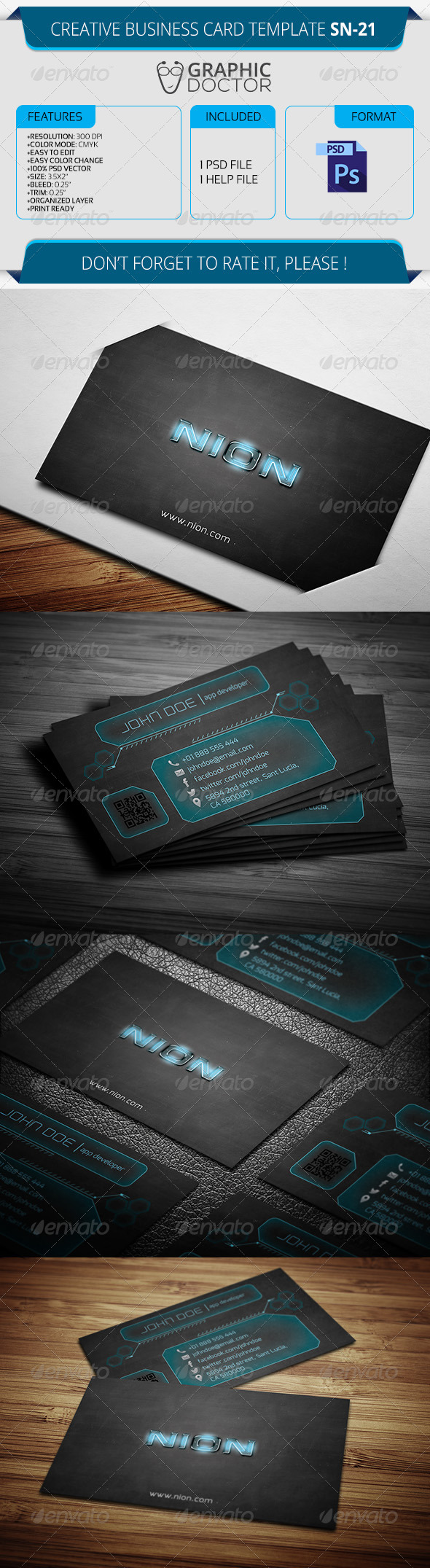 Creative Business Card Template SN-21 - Creative Business Cards