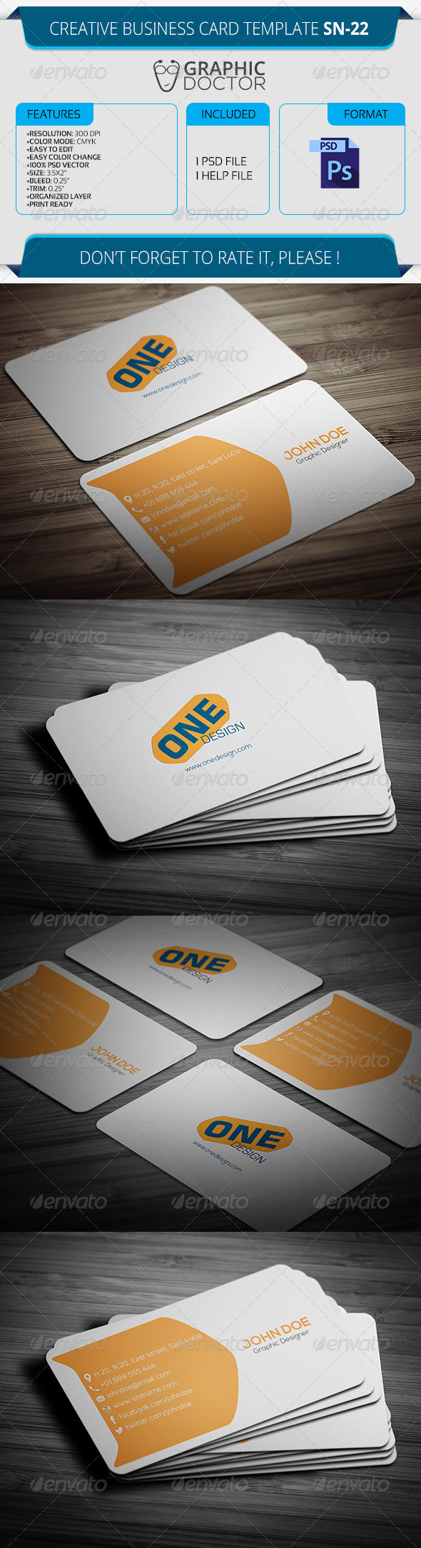 Creative Business Card Template SN-22 - Creative Business Cards