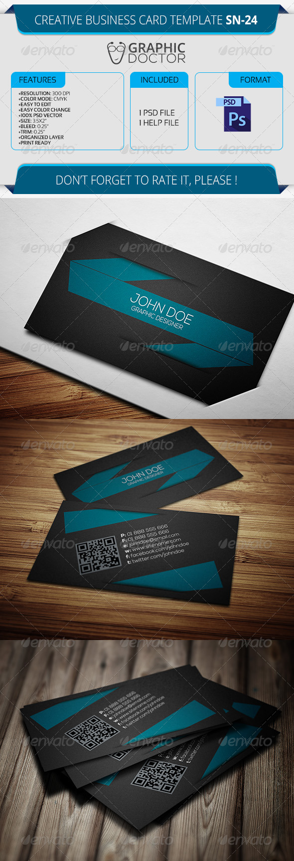 Creative Business Card Template SN-24 - Creative Business Cards