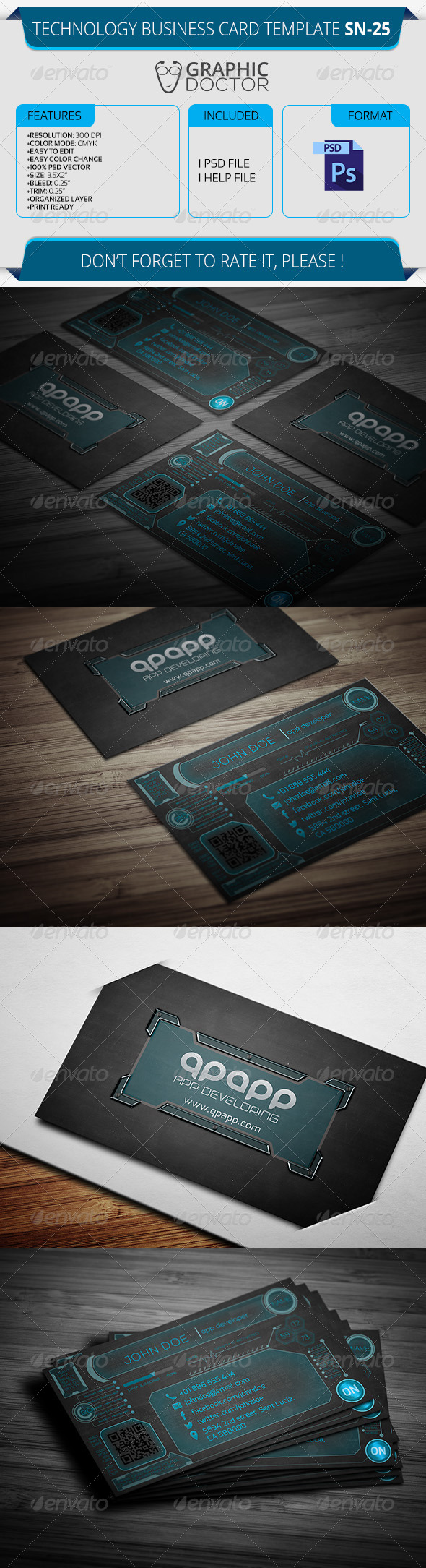 Technology Business Card Template SN-25 - Real Objects Business Cards