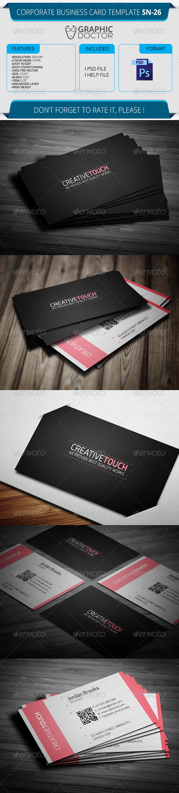 Corporate Business Card Template SN-26 - Corporate Business Cards