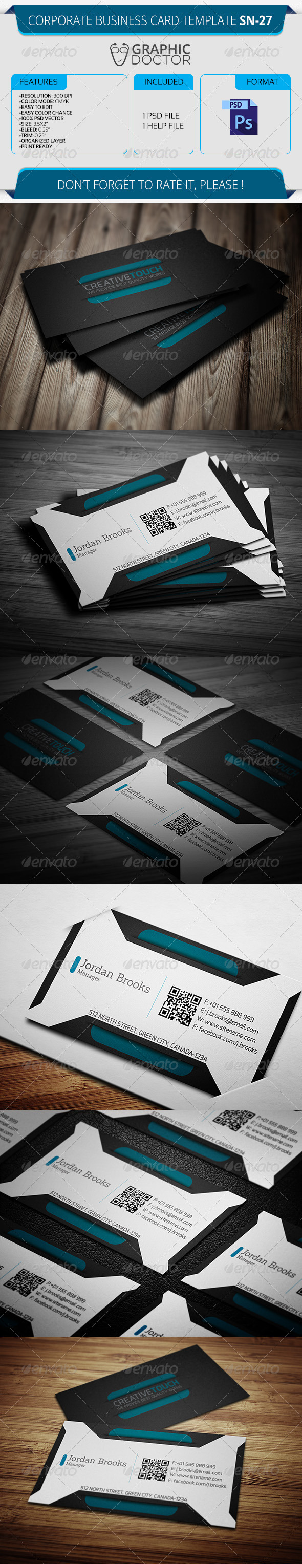 Corporate Business Card Template SN-27 - Corporate Business Cards