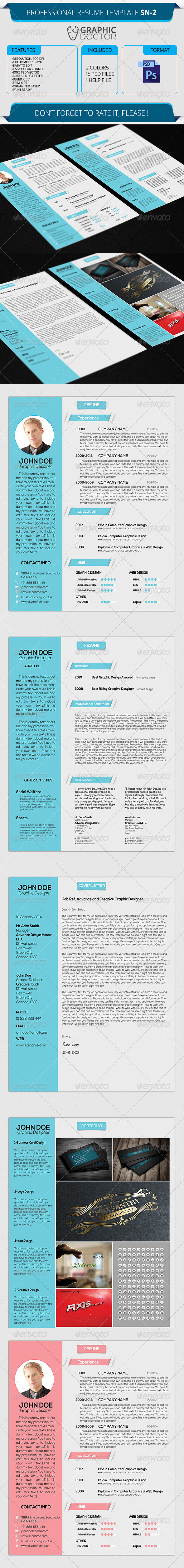 Professional Resume Template SN-2 - Resumes Stationery