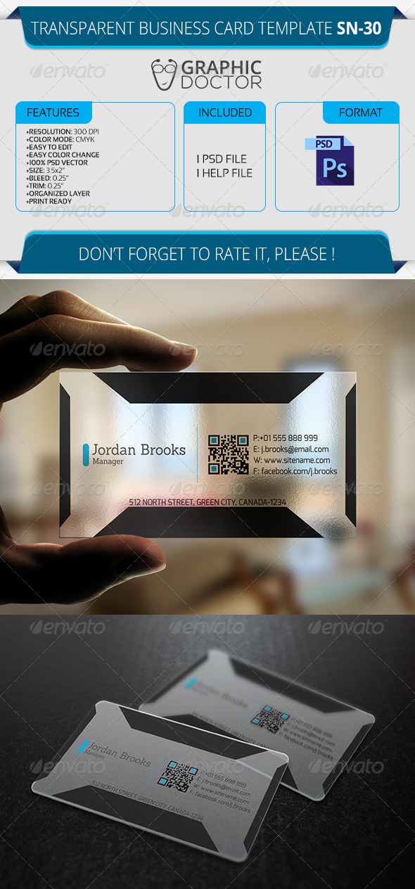 Transparent Business Card Template SN-30 - Real Objects Business Cards