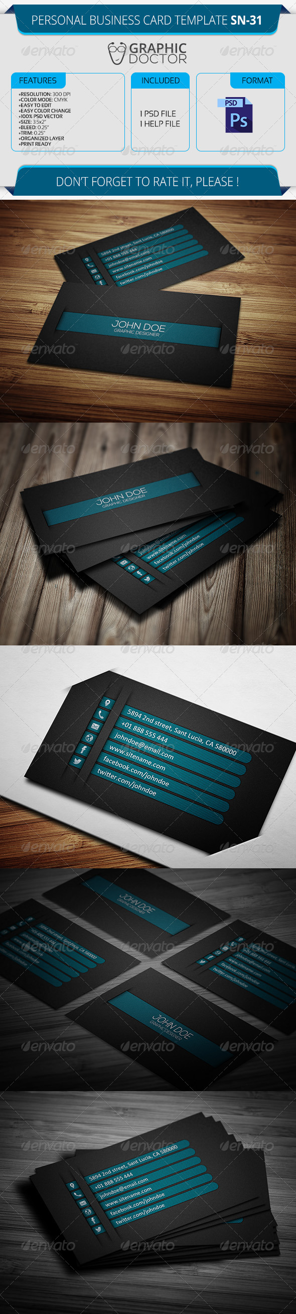 Personal Business Card Template SN-31 - Creative Business Cards