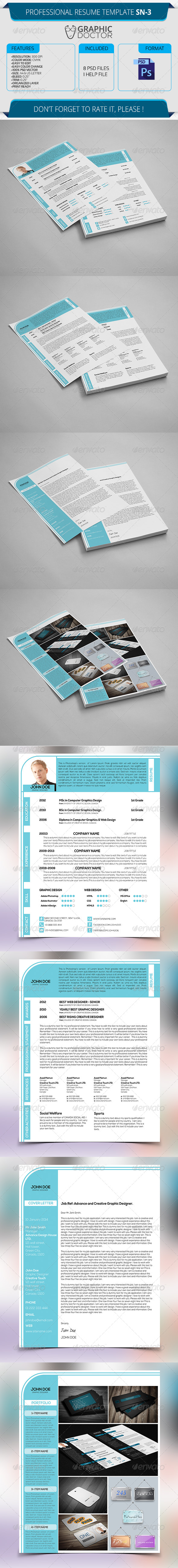 Professional Resume Template SN-3 - Resumes Stationery