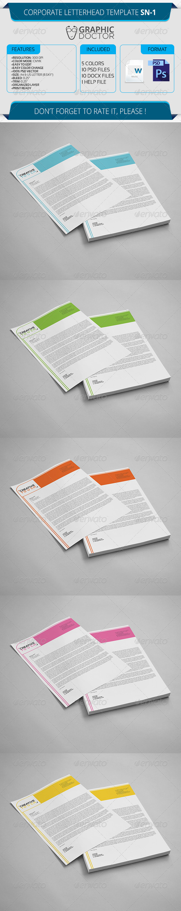 Corporate Letterhead Template SN-1 - Stationery Print Templates