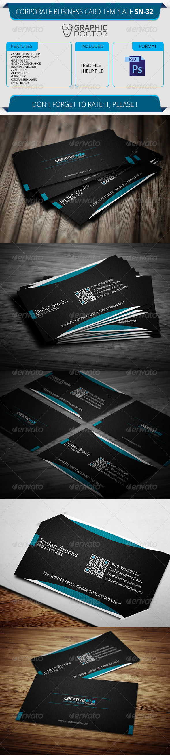 Corporate Business Card Template SN-32 - Corporate Business Cards