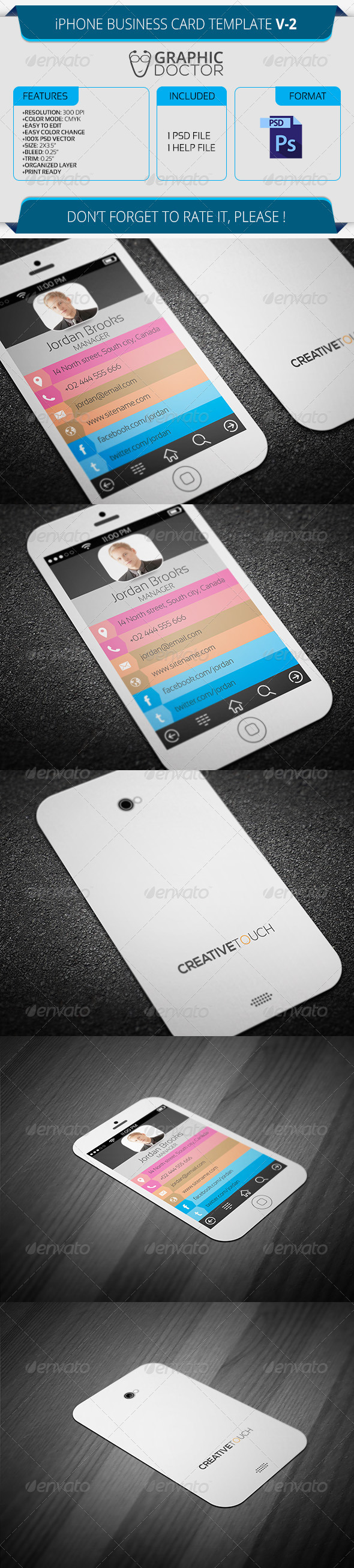 Iphone business card template v 2 by graphicdoctor graphicriver iphone business card template v 2 real objects business cards colourmoves Gallery