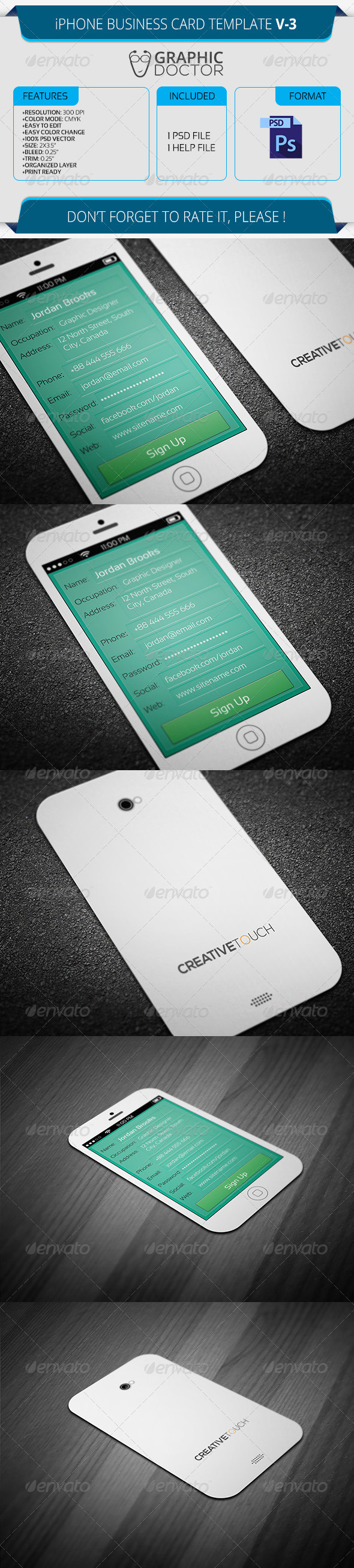 iPhone Business Card Template V-3 by GraphicDoctor | GraphicRiver