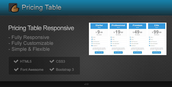 Super Pricing Table Responsive