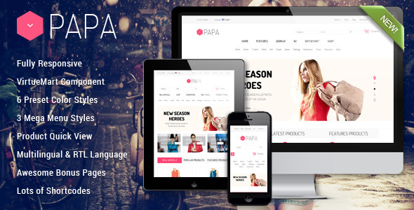 Papa – Responsive Multipurpose VirtueMart Template