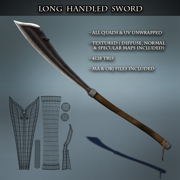 Long Handled Sword - 3DOcean Item for Sale