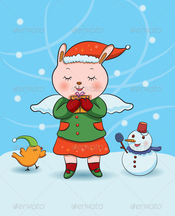 Christmas Bunny Angel - Characters Vectors